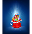 Cartoon of red sack with contains gift vector image vector image