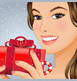 christmas girl with gift box vector image vector image