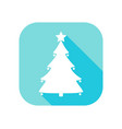 christmas tree flat icon with long shadow contour vector image vector image