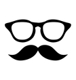 classic frame glasses with mustache vector image