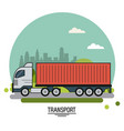 colorful poster of transport with cargo truck on vector image vector image