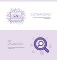 custom coding and seo monitoring template web vector image