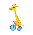 cute little giraffe character riding bicycle vector image vector image