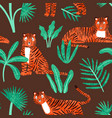 cute tiger with tropical plants seamless pattern vector image vector image