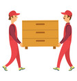 delivery workers carry chest drawers vector image