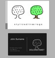 emblem of green cartoon tree vector image vector image