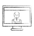 figure computer technology with screen and robbot vector image vector image