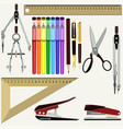flat set of school and office supplies vector image