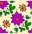 flower and leaves seamless pattern vector image vector image