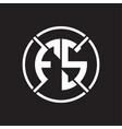 fs logo monogram with four part circle slash vector image vector image