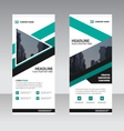 Green triangle Business Roll Up Banner flat design vector image vector image