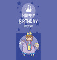 happy birthday card cute cartoons vector image