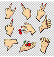 human hands different pose signal human fingers vector image