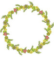 isolated nice yellow wreath with various flowers vector image