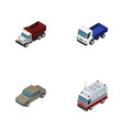Isometric car set of freight lorry first-aid and