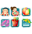 Kids and beach objects square badges vector image vector image