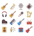 Linear music instruments color flat icons vector image vector image