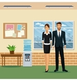 man and woman office work place table plant pot vector image