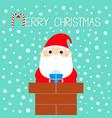 merry christmas santa claus on rochimney vector image vector image