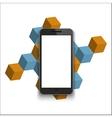 modern smartphone on geometric background vector image vector image