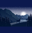 night mountains landscape with deer stars on sky vector image