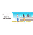patients standing queue at pharmacy counter vector image vector image