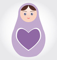 purple Russian dolls matryoshka with heart on vector image vector image