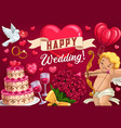 save date wedding day symbol cupid and cake vector image vector image