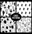 set black and white cacti seamless patterns vector image