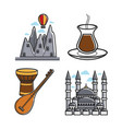set of architecture and instruments vector image