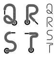 shoe lace alphabet letters Q R S T vector image vector image
