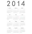 Simple calendar 2014 vector image vector image