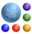 spider web icons set vector image