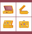 suitcases from different angles open and closed vector image