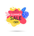 summer sale banner design with abstract shapes vector image