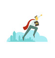 superhero man businessman flies over the city vector image vector image