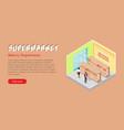 supermarket bakery department isometric web banner vector image vector image