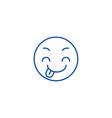 tricky emoji line icon concept tricky emoji flat vector image vector image