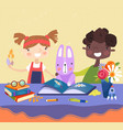 two young kids reading a book with their rabbit vector image vector image
