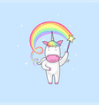 unicorn with magic stick vector image vector image