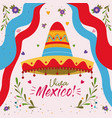 viva mexico colorful poster with mexican hat and vector image vector image