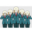 vintage set of smiley face emoji people isolated vector image