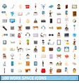 100 work space icons set cartoon style vector image vector image