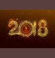 2018 new year number golden confetti on dark vector image vector image