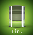 A silver tin can on a green background vector image vector image