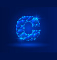 abstract glowing letter c on dark blue background vector image vector image