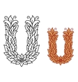 Alphabet letter U in a nature font with leaves vector image vector image