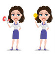 beautiful business woman holding blank clipboard vector image