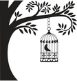 bird cage and tree vector image vector image