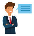 businessman brainstorm speech cartoon flat vector image